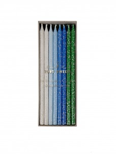 Meri Meri Blue Glitter Κεράκια Γενεθλίων 24τμχ