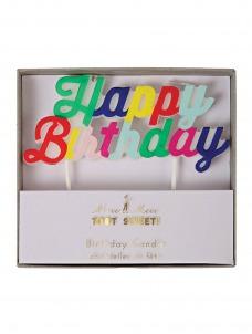 Meri Meri Κερί Happy Birthday Πολύχρωμο