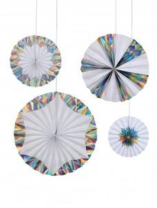 Meri Meri Διακοσμητικές Βεντάλιες Giant Holographic Silver