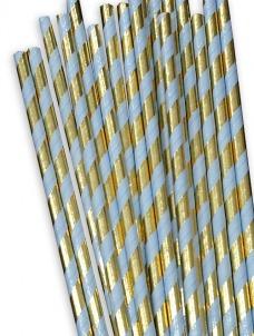 Χάρτινα καλαμάκια ριγέ Χρυσό-Σιέλ Μεταλλιζέ