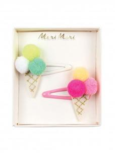 Meri Meri Κλιπ Μαλλιών Παγωτά με Pom Pom