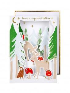 Meri Meri Ευχετήρια Χριστουγεννιάτικη Κάρτα Diorama Woodland Scene