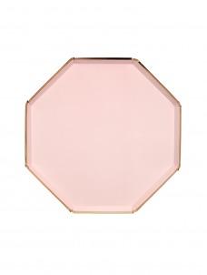 Meri Mer Πιάτο Φαγητού Οκτάγωνο Ροζ