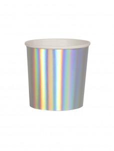Meri Meri Ποτήρι Χαμηλό (Κούπα) Silver Holographic 260ml