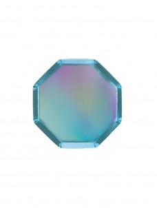 Meri Meri Πιάτο Γλυκού Οκτάγωνο Holographic Blue