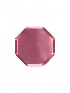 Meri Meri Πιάτο Γλυκού Οκτάγωνο Ροζ Foil