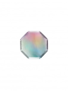 Meri Meri Πιάτο Mini Οκτάγωνο Silver Holographic