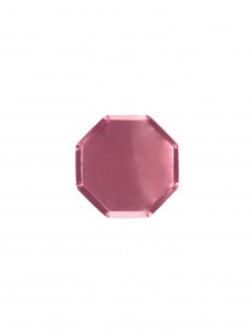 Meri Meri Πιάτο Mini Οκτάγωνο Ροζ Foil.