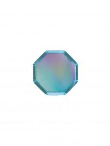 Meri Meri Πιάτο Mini Οκτάγωνο Holographic Blue.