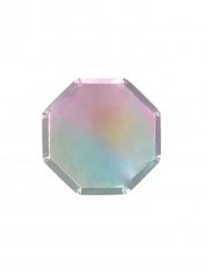 Meri Meri Πιάτο Γλυκού Οκτάγωνο Silver Holographic