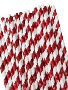Καλαμάκια χάρτινα κόκκινα μεταλιζέ