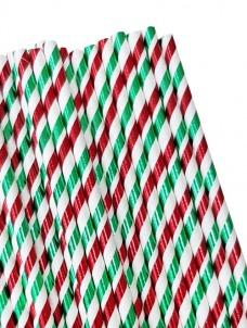 Καλαμάκια χάρτινα πράσινο κόκκινο μεταλιζέ
