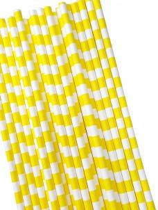 Καλαμάκια χάρτινα κίτρινα κάθετες ρίγες
