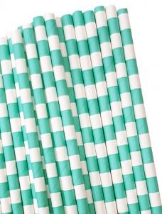Καλαμάκια χάρτινα aqua κάθετες ρίγες