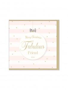 Ευχετήρια Χριστουγεννιάτικη κάρτα Merry Christmas Fabulous Friend xo xo