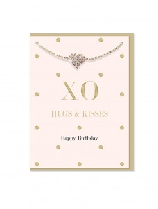 Ευχετήρια Κάρτα μαζί με βραχιολάκι Hugs & Kisses
