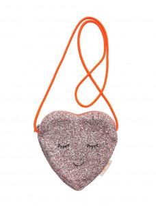 Meri Meri Τσάντα Υφασμάτινη Καρδιά με Ροζ Glitter