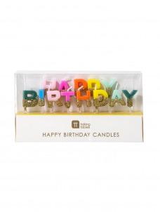 Κεράκια Γενεθλίων Rainbow Happy Birthday