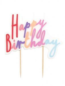 Talking Κερί Happy Birthday Ροζ Pastel