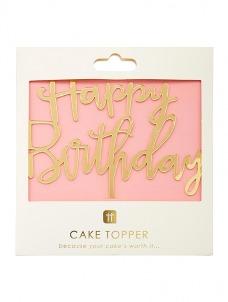 Talking Cake Topper Happy Birthday Rose Gold