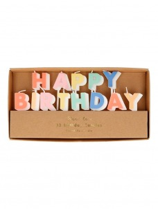 Meri Meri Κερί Happy Birthday παστέλ