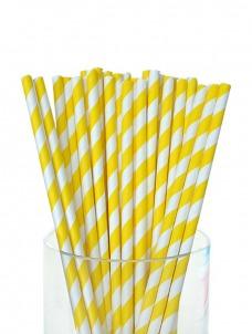 Καλαμάκια χάρτινα ριγέ κίτρινο