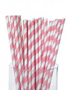 Καλαμάκια χάρτινα ριγέ ροζ
