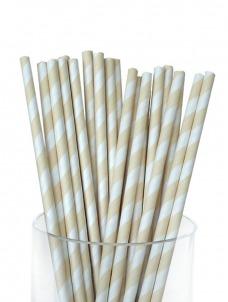 Καλαμάκια χάρτινα ριγέ Εκρου