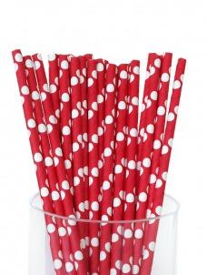 Καλαμάκια χάρτινα κόκκινο λευκό πουά