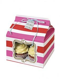 Meri Meri Cupcake box ροζ ριγέ
