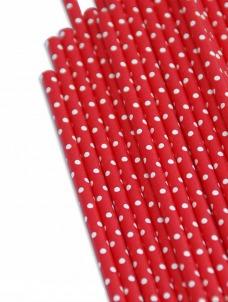 Καλαμάκια χάρτινα κόκκινα λευκό πουά