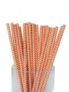 Καλαμάκια χάρτινα πορτοκαλί ζικ ζακ