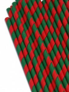 Καλαμάκια χάρτινα ριγέ πράσινο-κόκκινο
